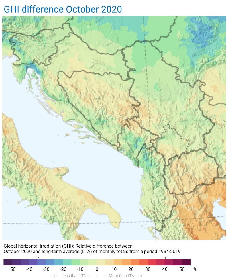Mjesečni izvještaj razlike zračenja oktobar 2020 Zapadni Balkan