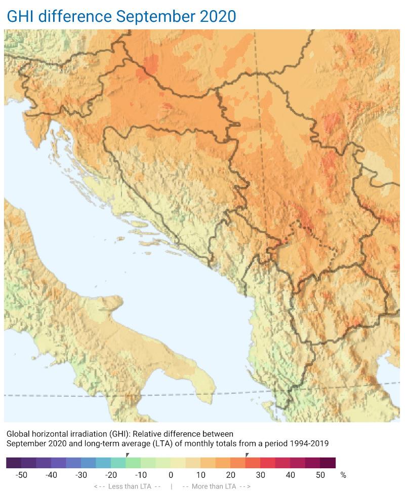 Mjesečni izvještaj razlike zračenja septembar 2020 Zapadni Balkan