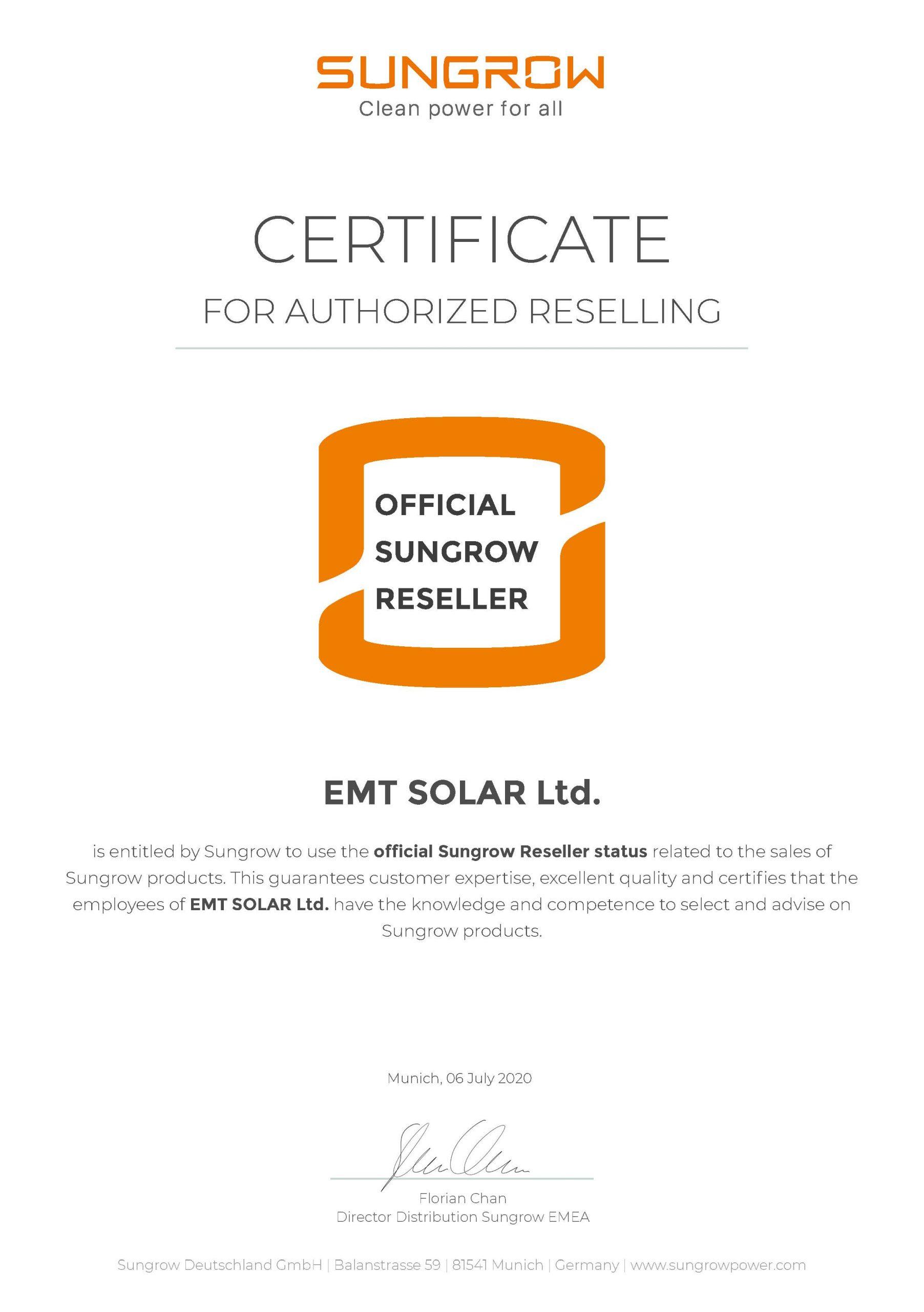 EMT SOLAR reseler